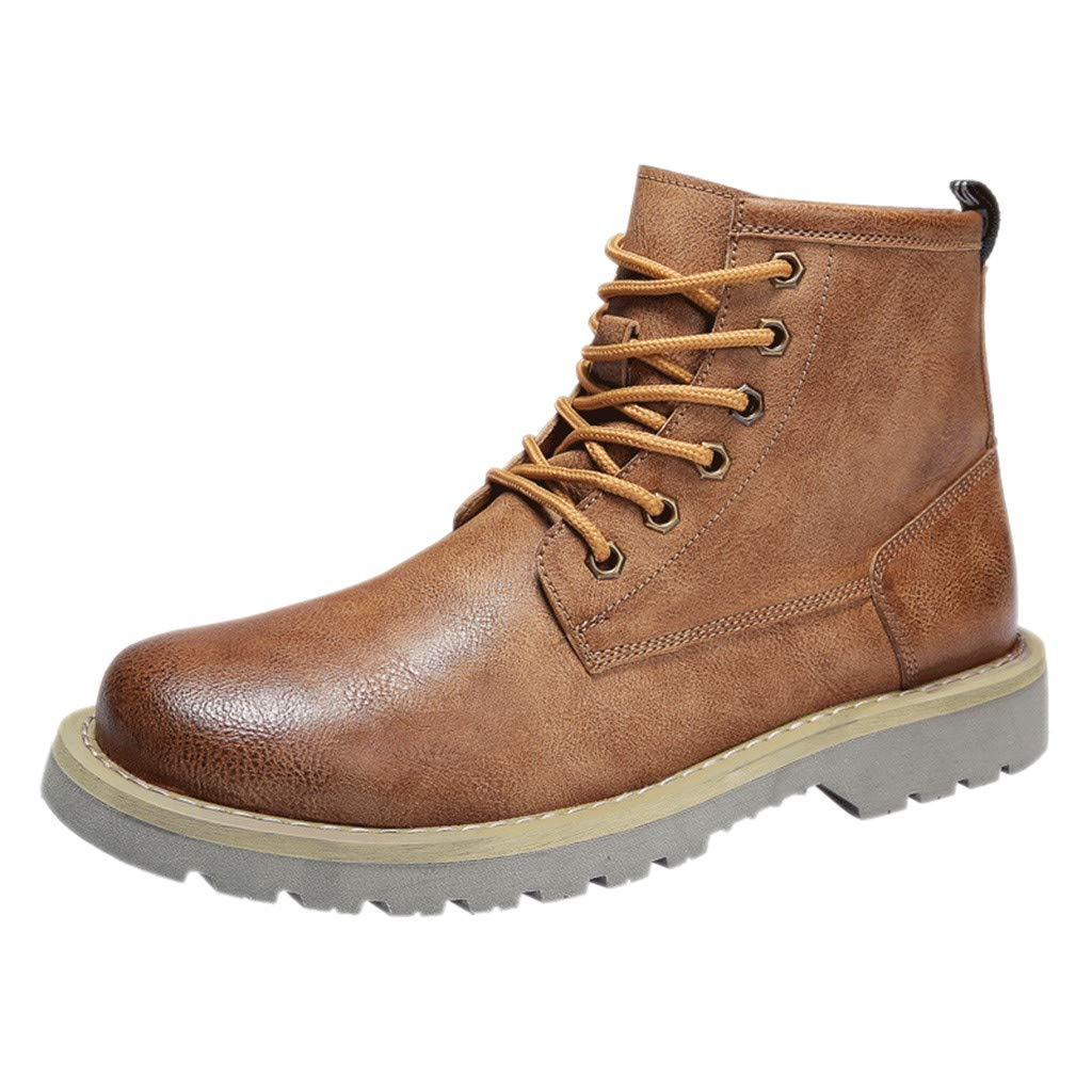 【MOHOLL】 Men's Autumn Casual Booties Fashion Motorcycle Boots Retro Round Boots Wingtip Anckle Boots Brown