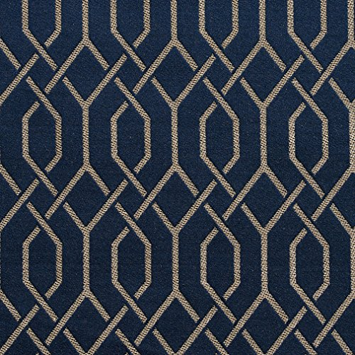 Sapphire Lattice Dark Blue Gray Silver Contemporary Abstract Geometric Small Scale Damask Jacquard Linen Silk Looks Fade Resistant Upholstery Fabric by the - Silver Upholstery Silk
