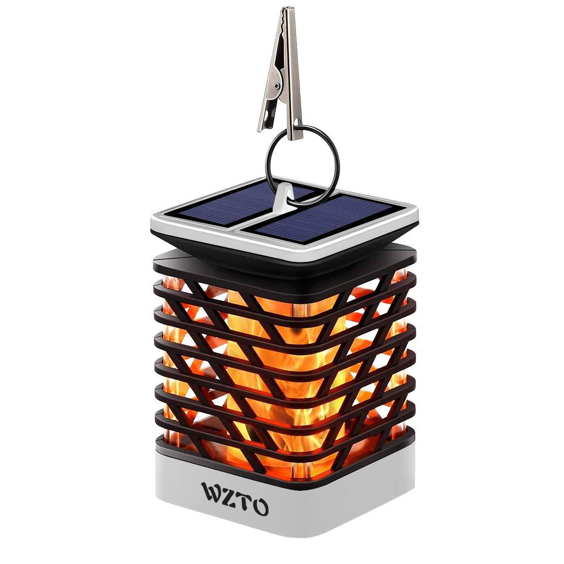 Llama Solar Luces WZTO Lámpara de Fuego Solar 75 LED IP55 Impermeable Apagar y Encender Automáticamente Lámparas Colgantes Luces para Camping, Jardín, ...