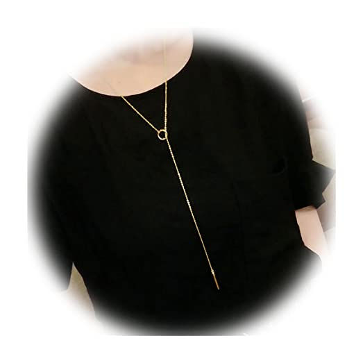 Sweetiee 925 Sterling Silver Lariat Necklace with Ring and Bar Pendant 700mm(Adjustable) for Woman GrdGh