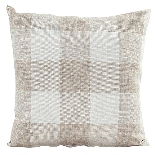 Pillow Covers,Famibay Square Tartan Cotton Linen Throw Pillow Case Decorative Cushion Cover for Couch Sofa Bedroom Car (20