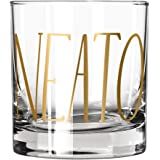 """Easy, Tiger Lowball Glass with Foil, Gold""""Neato"""" (Single Glass)"""
