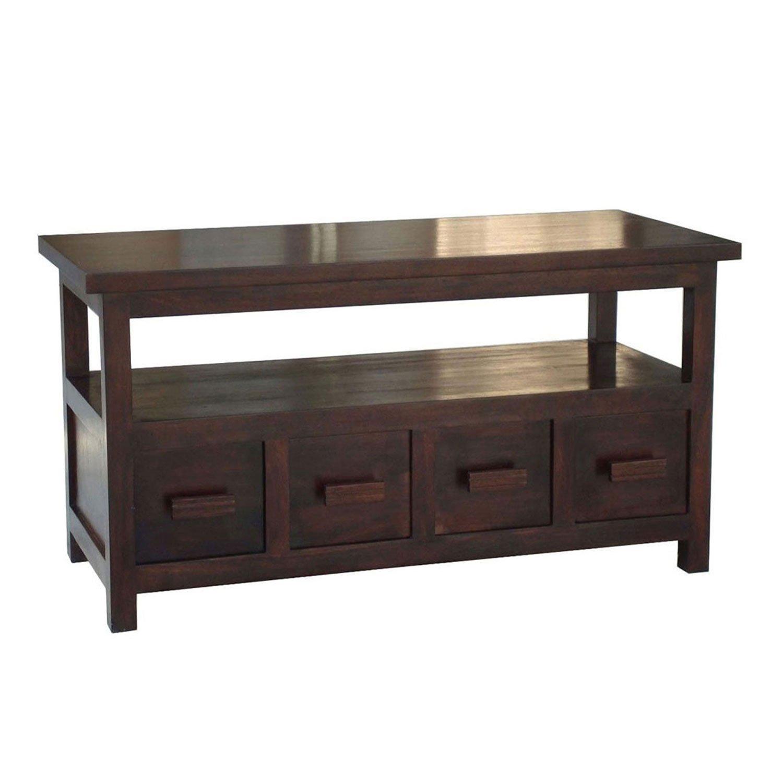 Homescapes Coffee Table cum TV Unit Walnut Shade 100% Solid Mango
