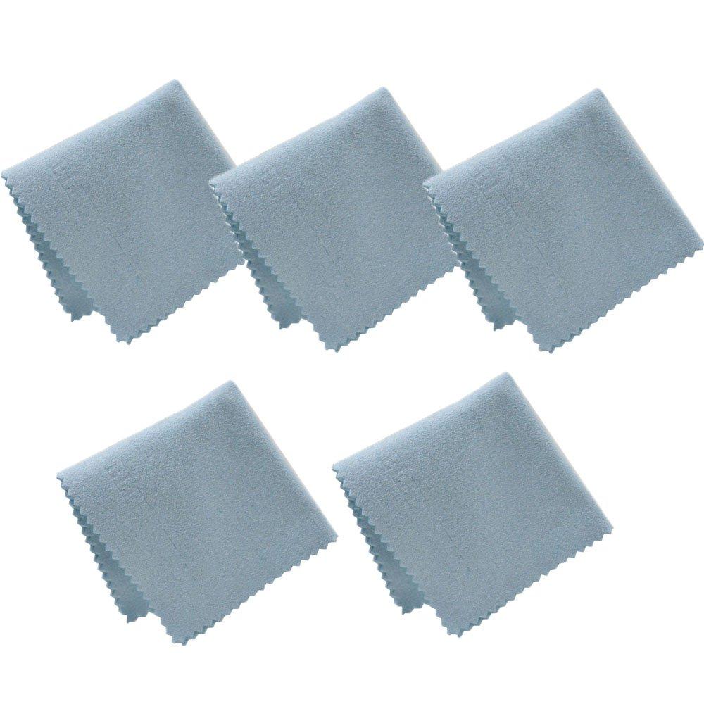 Elfenstall Set 5 x Microfaserreinigungstuch aus Microfaser Reinigungstuch 15 x 15 cm in blau, für alle Smartphones Kameras Tablet PCs - Bildschirm Tuch - Displayreinigungstuch
