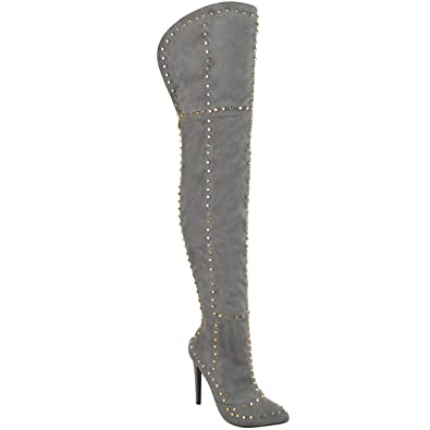 57725ae5 Fashion Thirsty Womens Gold Studded Thigh High Stiletto Spikes Boots Size