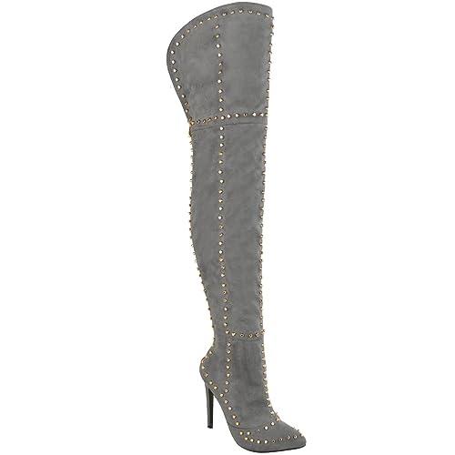 Fabrik Modestile offizieller Verkauf Damen Overknee-Stiefel - mit Nieten besetzt - Stiletto-Absatz