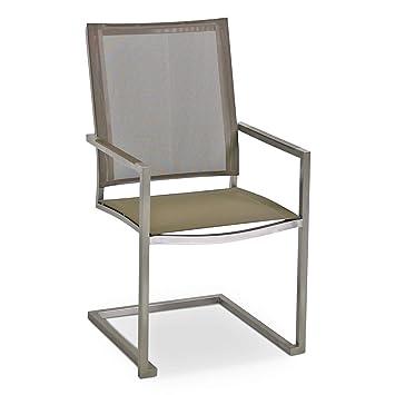 MONBEA Venus Freischwinger Stuhl Gestell Edelstahl Hochwertiger Gartenstuhl Mit Batyline Bespannung Taupe Und Aluminium Akzenten