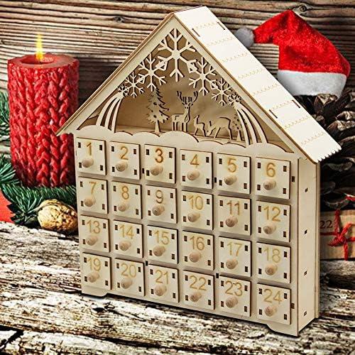 [해외]MorTime 24 Day Advent 캘린더 프리미엄 크리스마스 데코 | 페인트 캐릭터 | 100% 나무 구조 | 귀여운 휴일 장식 | 치수 / MorTime 24 Day Advent Calendar,Countdown to Christmas Wooden Advent Calendar 24 Storage Drawers, 100% Wood Construct...