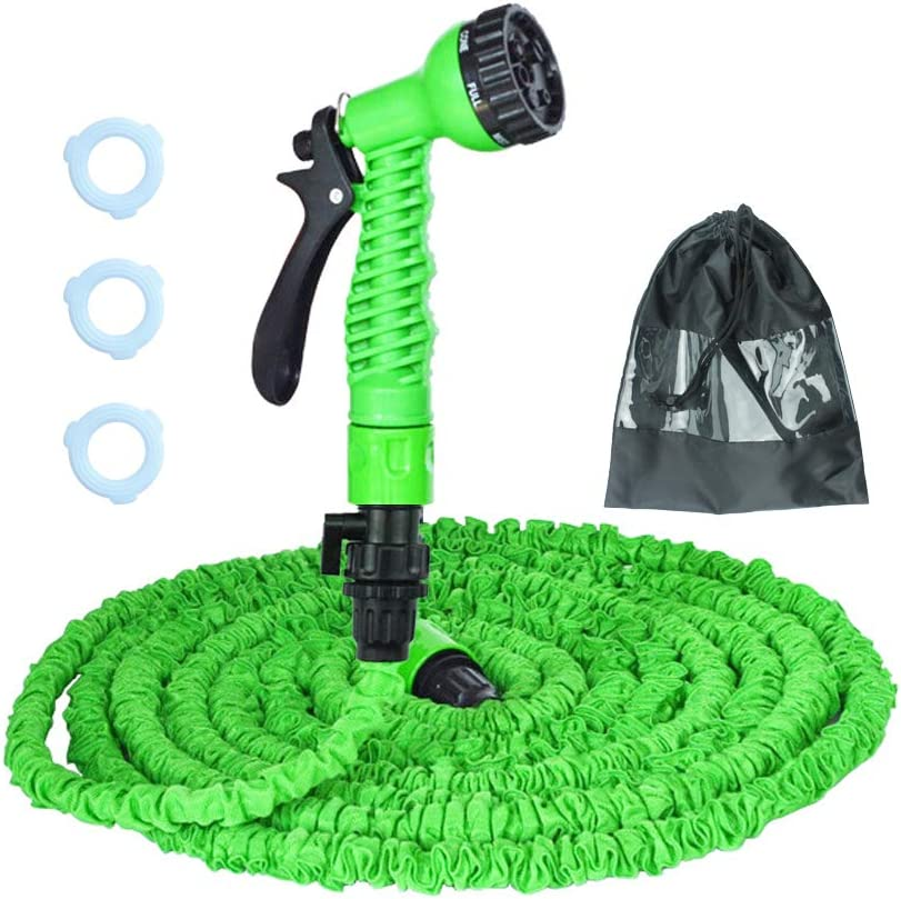 Garden Hose Expandable Water Hose Double Latex Core No Kink & Twist Flexible Water Pipe with 7 Functions Spray Nozzle for Outdoor Lawn Plants Car (50Ft,Green)