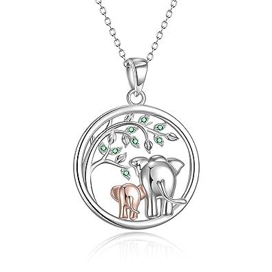 Amazon.com: POPLYKE - Collar con colgante de elefante de la ...