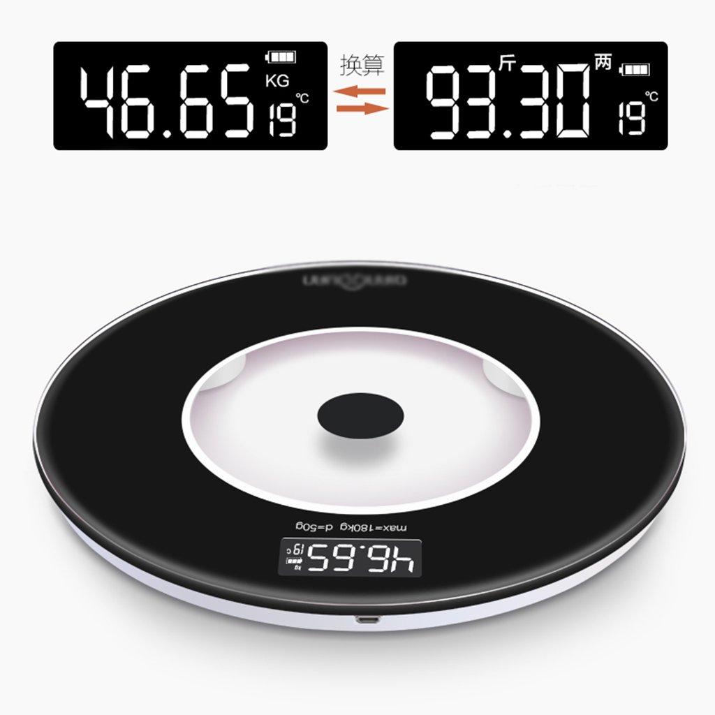 Escala de peso DWW Báscula de pesaje USB Recargable en el hogar, Salud en el hogar, ultraprecisión, Vidrio Templado, Extra Grande, Pantalla Digital, báscula ...