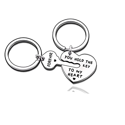 c4affe48ca Amazon.com : Couples Jewelry Accessories Silver Key Chains Rings Keychain  Valentines Gifts for Husband Wife Boyfriend Girlfriend (4) : Office Products
