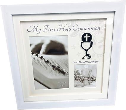 Primera 1st Comunión caja marco de fotos blanco regalo de recuerdo de plata Multi Kids: Amazon.es: Oficina y papelería