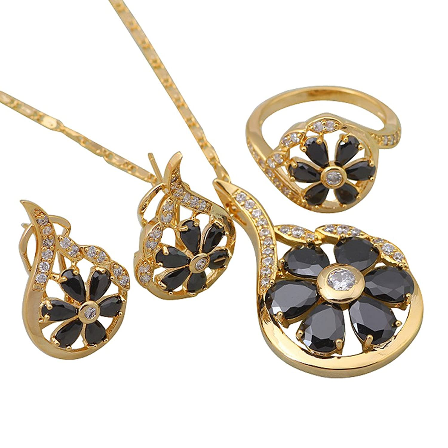 18K Yellow Gold Plated Sets Black Cubic Zirconia Round Pendants/Ring/Earring size 6 7 8 9 S061