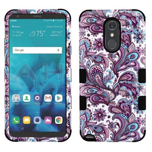 LUXCA 2 Layers 3 in 1 Protection Cover for LG Stylo 4 Phone Case with 1 Full Coverage Tempered Glass Screen Protector for Girls Women(Purple European Paisley