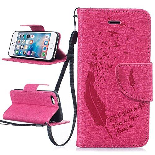 Für Apple iPhone 5 5G 5S / iPhone SE (4 Zoll) Tasche ZeWoo® Ledertasche Kunstleder Brieftasche Hülle PU Leder Schutzhülle Case Cover - BF059 / Rosa Feder
