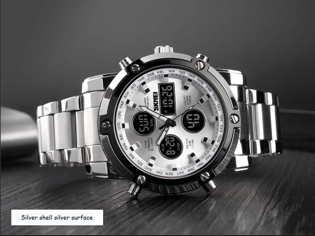 ZGP Sportklocka multifunktionell dubbel display elektronisk stålrem stor urtavla herr vattentät klocka (färg: A) c