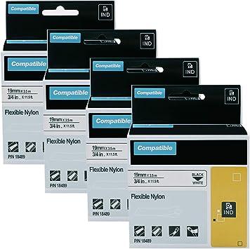 "6PK 3//4/"" Black//White Flexible Nylon Label 18489 For DYMO Rhino Industrial 4200"