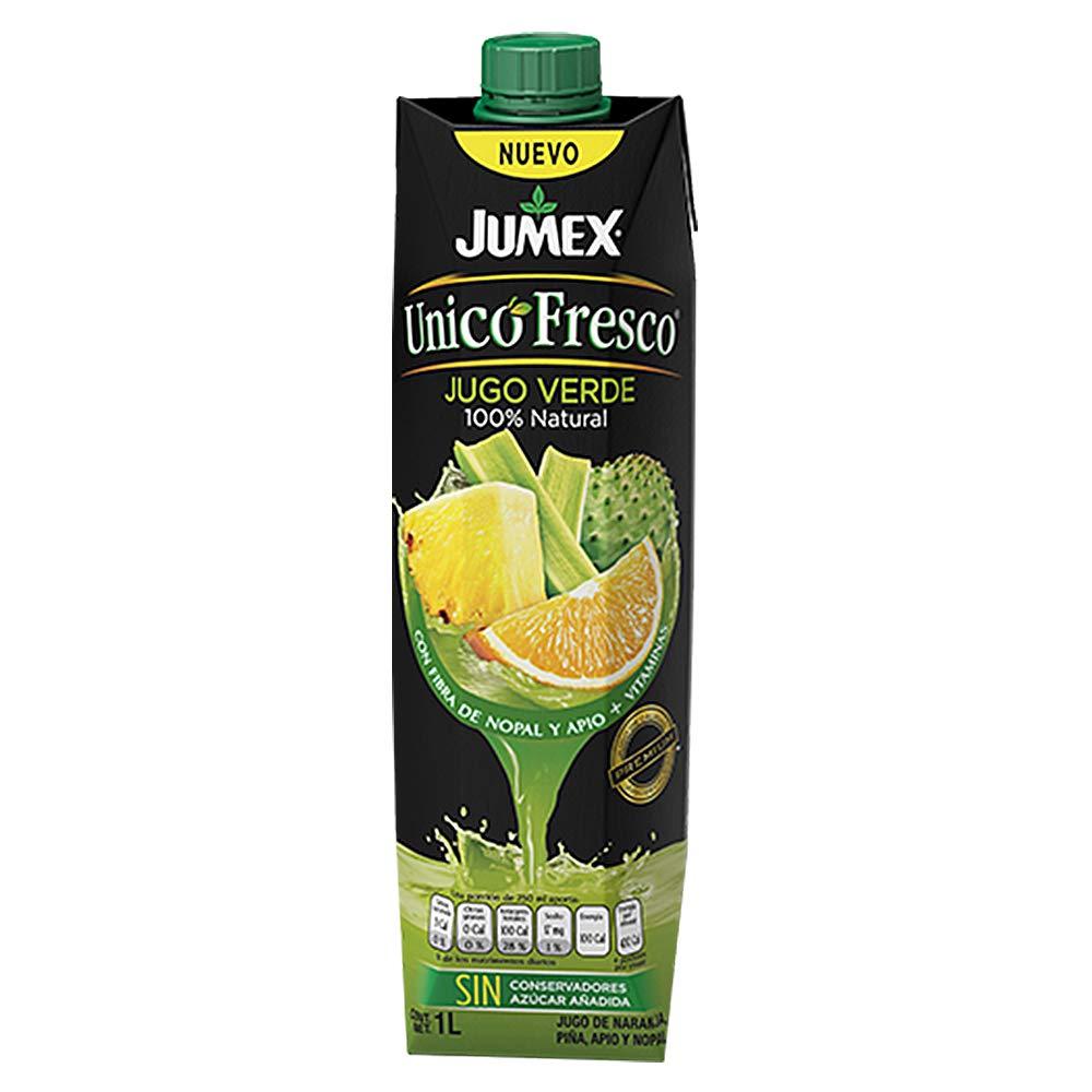 100% NATURAL DELICIOUS GREEN JUICE BLEND WITH PINEAPPLE, CELERY, CACTUS AND ORANGE. JUMEX UNICO FRESCO BRAND 34 FL OZ