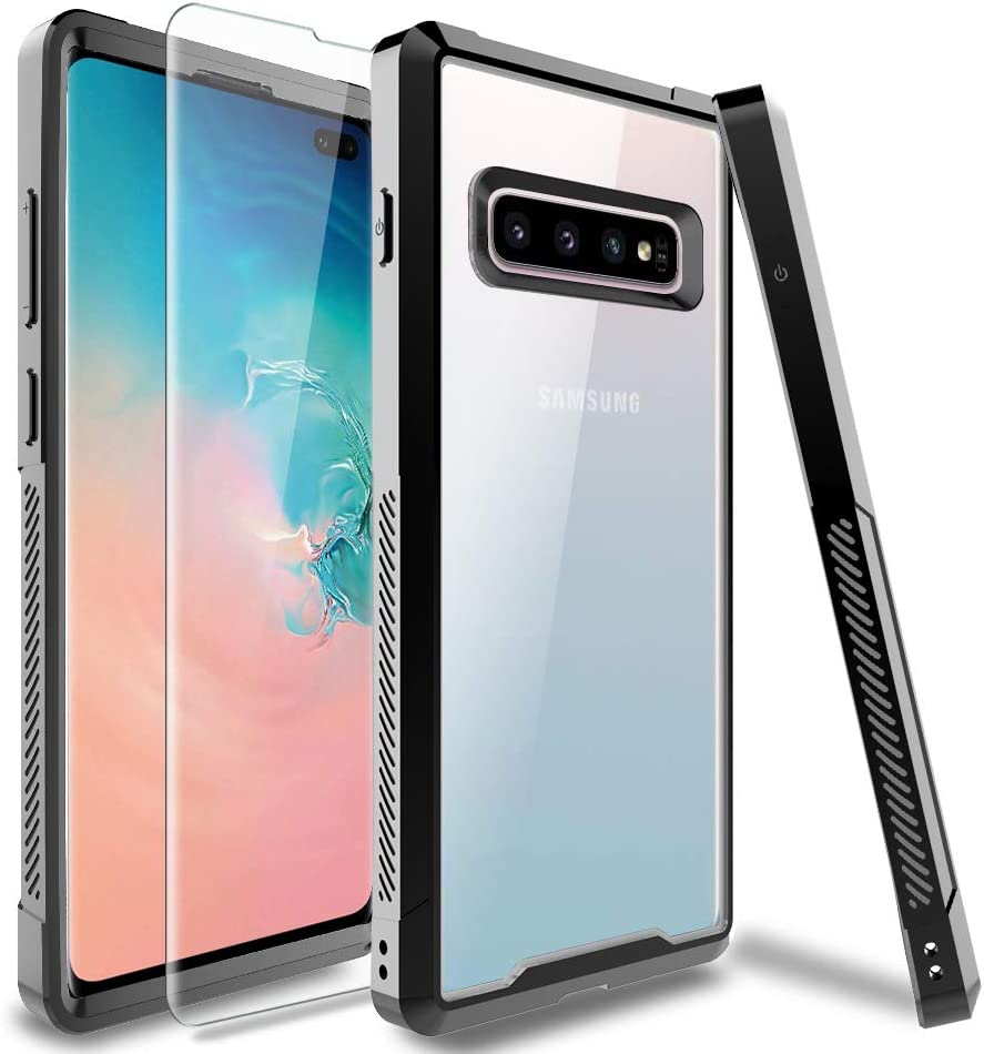 HATOSHI Samsung Galaxy S10 Plus Case (Not Fit S10 or S10e) with Screen Protector [1 Pack], [Heavy Duty Protection] Shockproof Slim Fit TPU Bumper Clear Phone Cover for Galaxy S10+ (Black)