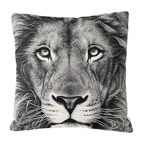 Price comparison product image Mika Home Jacquard Lion Animal Style Throw Pillow Case Car Cushion Covers for 18X18(Grey,  Cream,  Black,  Square,  1 Pillowcases)
