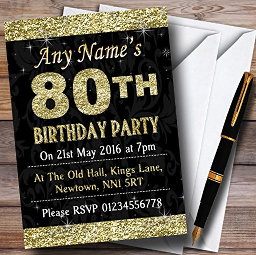 Glitter Look Gold 80Th Birthday Party Personalized Invitations