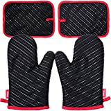 Deik Oven Mitts and Potholders 4-Piece Sets for Kitchen Counter Safe Mats and Advanced Heat Resistant Oven Mitt, Non-Slip Textured Grip Pot Holders, Nano- Technology