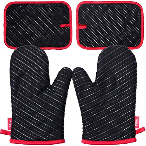 (Deik Oven Mitts and Potholders 4-Piece Sets for Kitchen Counter Safe Mats and Advanced Heat Resistant Oven Mitt, Non-Slip Textured Grip Pot Holders, Nano- Technology)
