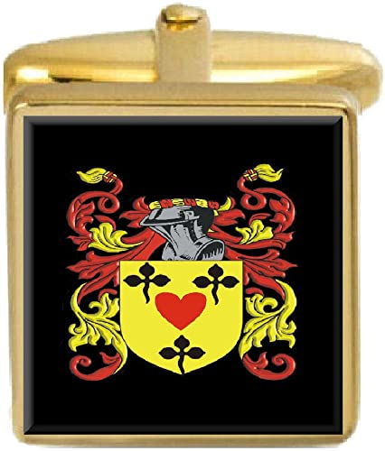 Select Gifts Ogram England Family Crest Surname Coat Of Arms Gold Cufflinks Engraved Box