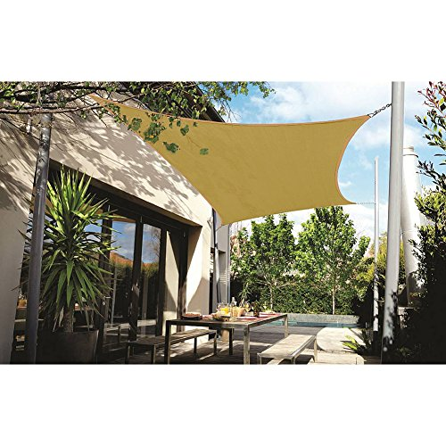 DOEWORKS Rectangle 10' X 13' Sun Shade Sail, UV Block for Outdoor Patio Garden Facility and Activities, Sand by DOEWORKS