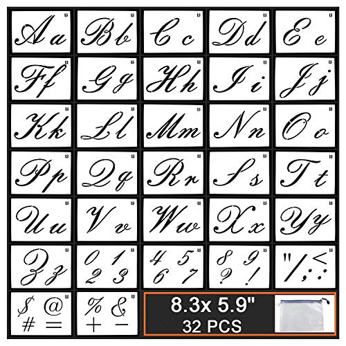 GUVVEAZ Painting Letter Stencils on Wood, 32 PCS Reusable Washable Template with Calligraphy Font Uppercase and Lowercase Alphabet, Numbers and Signs, with Portable Zipper Bags, 8.3x5.9