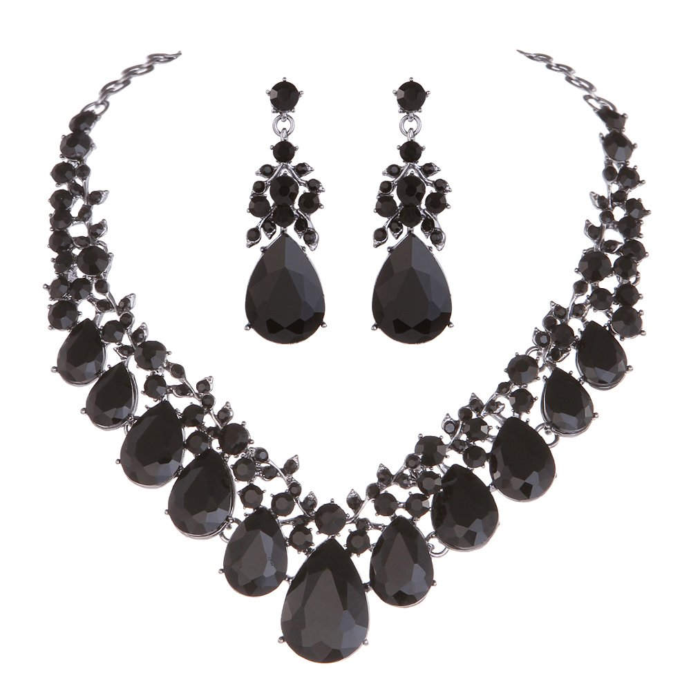 Youfir Bridal Rhinestone Crystal V-Shaped Teardrop Wedding Necklace and Earring Jewelry Sets for Brides Formal Dress (Black)