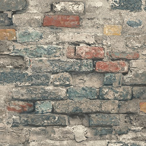 RoomMates Brick Alley Peel and Stick Wallpaper (Designer Fabric Wallpaper)