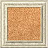 Amanti Art Framed Cork Board, Choose Your Custom Size, Country White Wash Wood