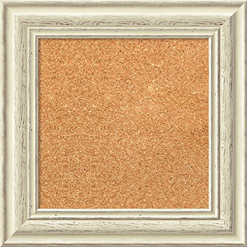 Amanti Art Framed Cork Board, Choose Your Custom Size, Country White Wash Wood by Amanti Art