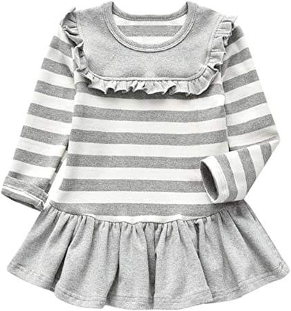 Fashion Toddler Kid Baby Girl Cotton Long Sleeve Solid Party Princess Dress Tops