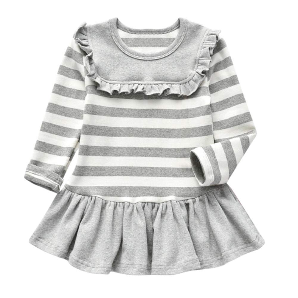 0-5 Years, Baby Kid Dress, Toddler Kid Baby Girl Long Sleeve Solid Stripe Party Princess Dress Tops