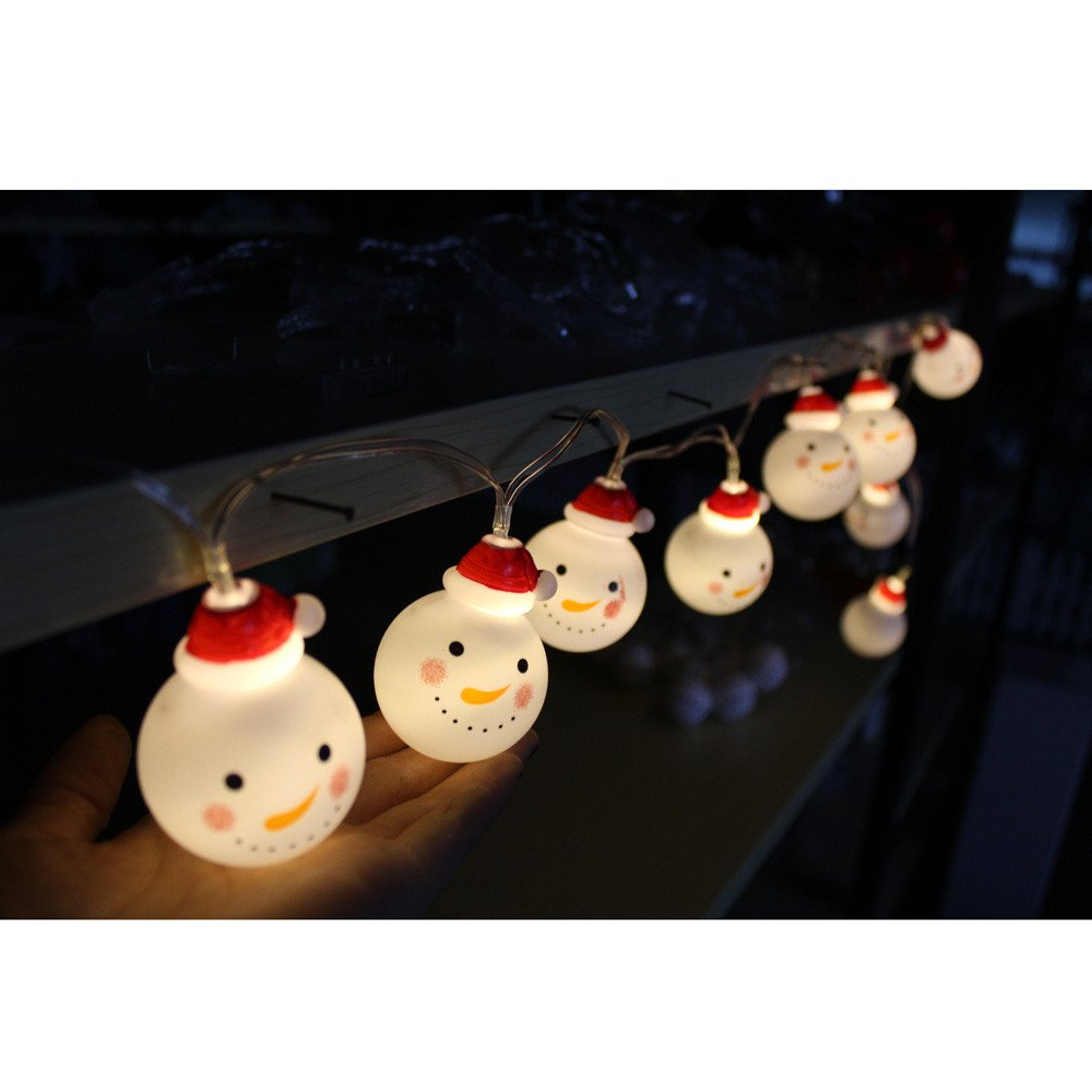 Glumes Christmas Snow Man String Lights - for Christmas Halloween Easter Lights Patio Lawn Garden Party and Holiday Decorations Themed Lights Waterproof Battery Powered -American Warehouse Shipment (1.2m)