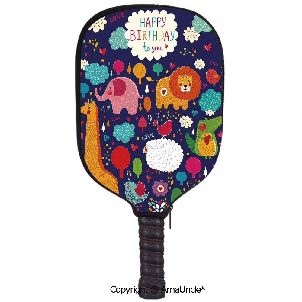 Amazon.com : AmaUncle 3D Pickleball Paddle Racket Cover Case, Cartoon Owl Bird Tree Branch with Flags on Striped Backdrop Customized Racket Cover with ...