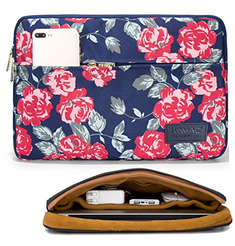 Circular Side Zipper - Kinmac Rose 360 Degree Protective 13 inch Water Resistant Laptop Sleeve Bag Case with Multi Pockets for 13 inch to 13.3 inch Laptop