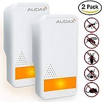 AUDAX Repelente Ultrasónico Mosquitos 2019 Control de Plagas para Las Moscas, Cucarachas, Arañas, Hormigas, Ratas y Ratones, Insectos Antimosquitos Eléctrico Extra Fuerte para Interiores (2-Pack)