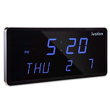 Ivation Big Oversized Digital Blue LED Calendar Clock with Day and Date – Shelf or Wall Mount 12 inches – Blue LED