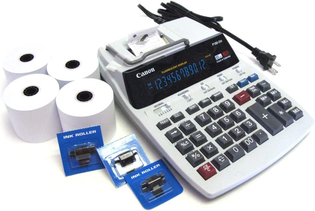 Desktop Office Printing Calculator Model P180 Special Package with 4 Rolls Paper & 3 Ink Rolls