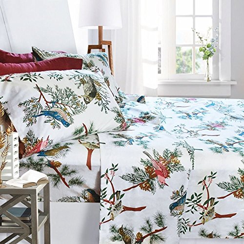 printed bed sheet set full size birds by clara clark 6 piece bed sheet 100 soft brushed microfiber with deep pocket fitted sheet