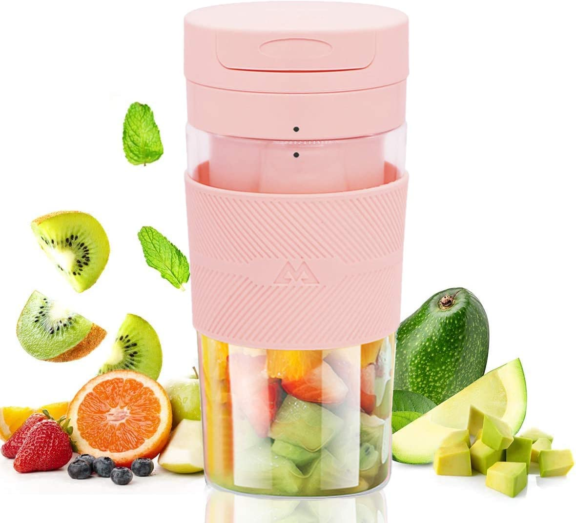 Miceshu Portable Blender, Beach Personal Blender for Shakes and Smoothies, Mini Mixer, Rechargeable Fruit Blender Cup , 10oz/300ml for Home, Office, Sports, Travel, Outdoors BPA Free