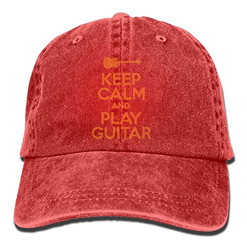 (Edongquwe Keep Calm and Play Guitar Plain Washed Dad Solid Cotton Polo Style Baseball Cap Hat)