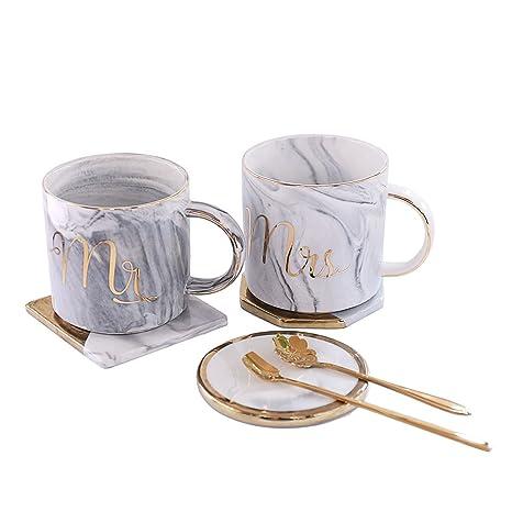 Amazon.com: Mr and Mrs Couples Ceramic Coffee Mug Set Unique Wedding ...