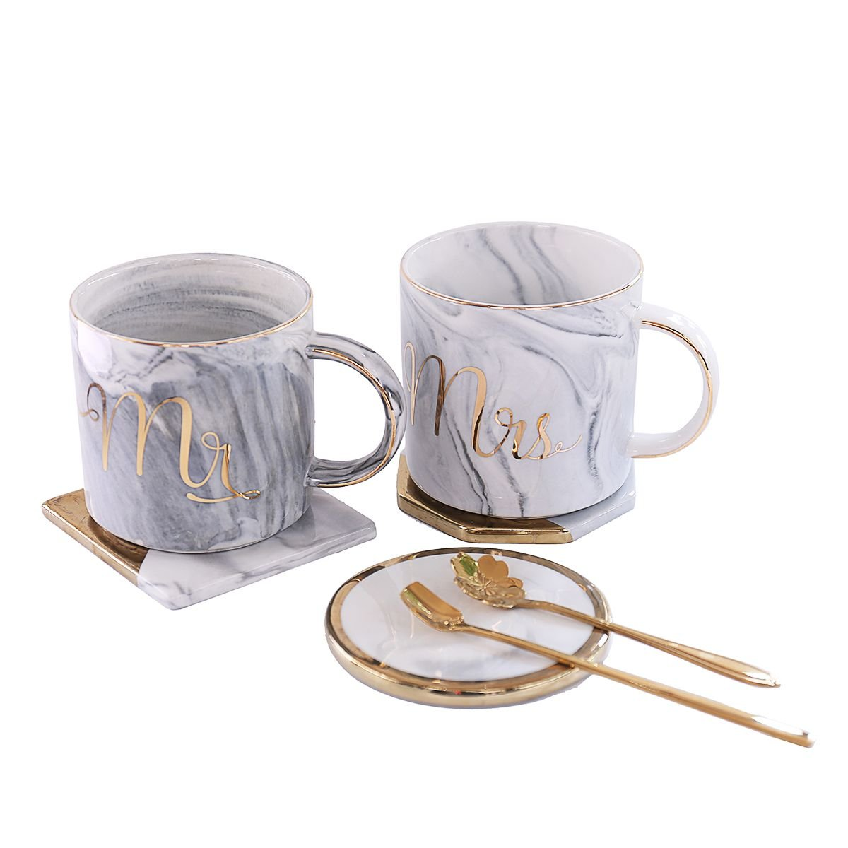 Mr and Mrs Couples Ceramic Coffee Mug Set Unique Wedding Gift For Bride and Groom - His and Hers Anniversary Present Husband and Wife -Engagement Gifts For Him Her For Parents for Valentine's day