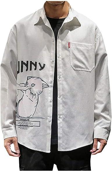CAOQAO Camisa Hombre Manga Larga Moda Gato impresión Suelta Bolsillo Solapa Camisa Tops Blusa: Amazon.es: Ropa y accesorios