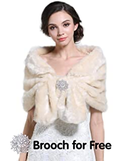 Aukmla Sleeveless Faux Fur Shawl Wedding Fur Wraps and Shawls Bridal Fur Stole for Brides and